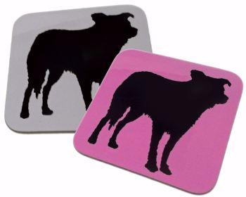 Border Collie Dog Silhouette Gloss Coaster