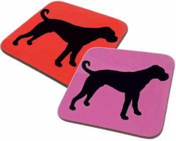 Boxer Dog Silhouette Gloss Coaster