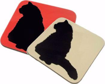 Cat Kitten Silhouette Gloss Coaster