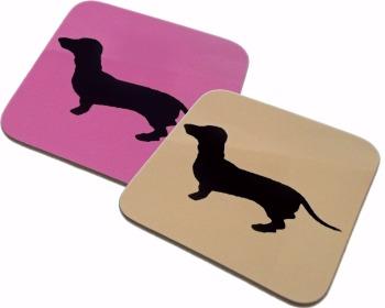 Dachshund Dahks-hound Sausage Dog Silhouette Square Gloss Coaster