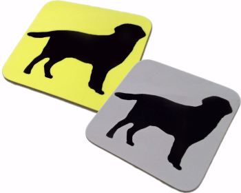 Labrador Retriever Dog Silhouette Square Gloss Coaster