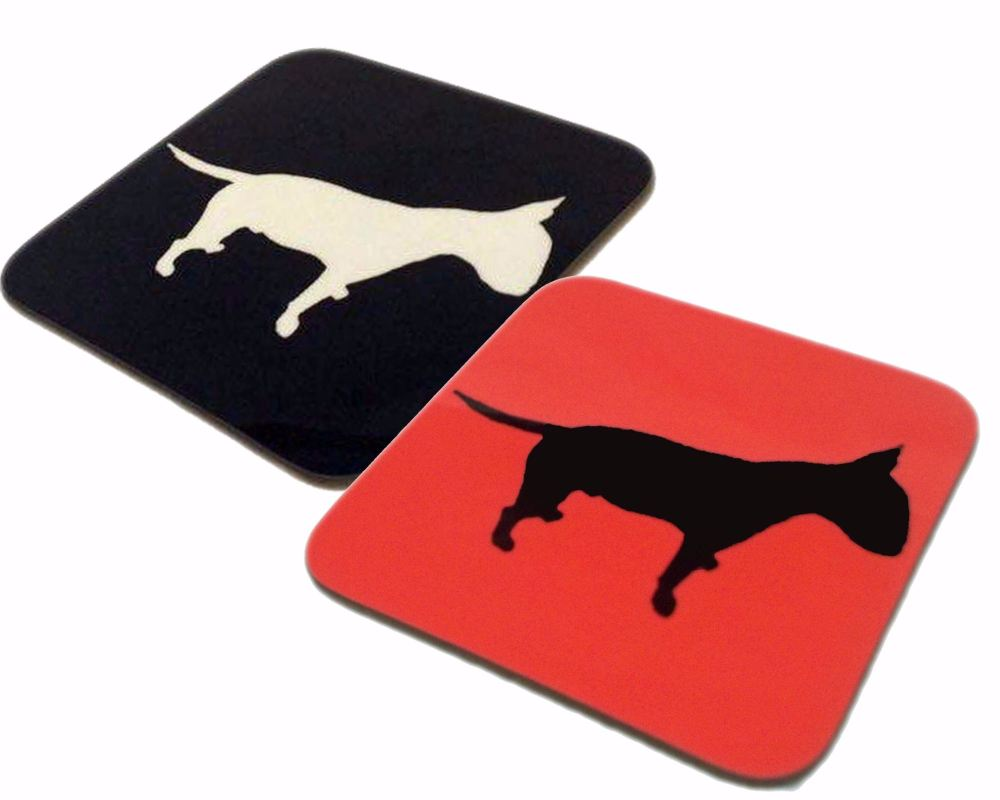 English Bull Terrier Dog Silhouette EBT Square Gloss Coaster