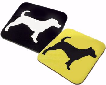 Jack Russell Terrier Dog Silhouette Square Gloss Coaster
