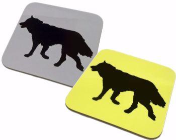 Husky Silhouette Sled Dog Square Gloss Coaster