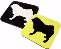 Pug Dog Silhouette Square Gloss Coaster