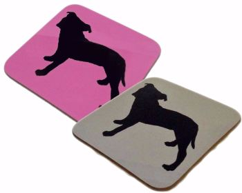 Staffordshire Bull Terrier Dog Silhouette Staffy Staffie Square Gloss Coaster