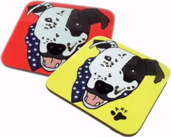 Arthur Crossbreed Rescue Mongrel Dog Square Gloss Coaster