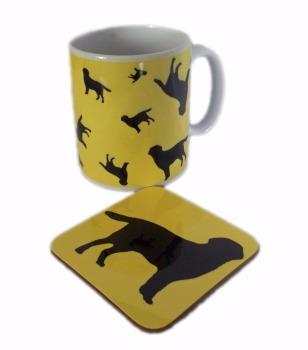 Labrador Retriever Dog Silhouette Ceramic Mug And Square Gloss Coaster Set