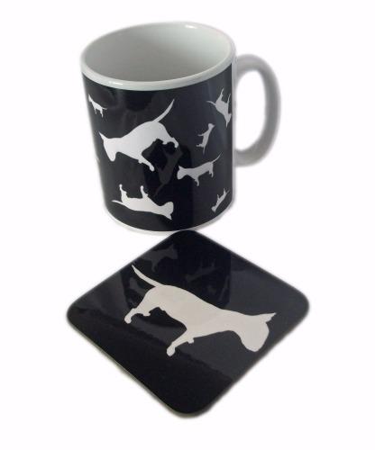 English Bull Terrier Dog Silhouette EBT Ceramic Mug And Square Gloss Coaster Set