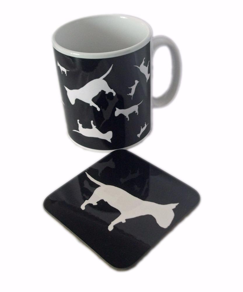 English Bull Terrier Dog Silhouette EBT Ceramic Mug And Square Gloss Coaste