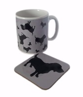 Basset Hound Dog Silhouette Bassethound Bassetthound Ceramic Mug And Square Gloss Coaster Set