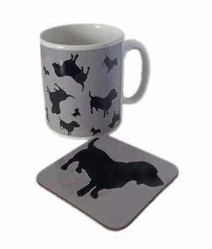 Basset Hound Dog Silhouette Bassethound Bassetthound Ceramic Mug And Square Gloss Coaster Set