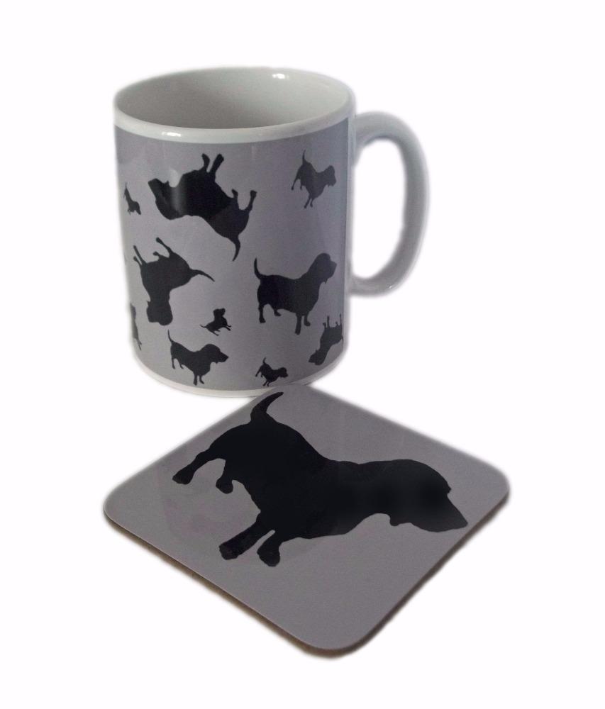 Basset Hound Dog Silhouette Bassethound Bassetthound Ceramic Mug And Sqaure