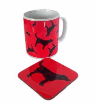 Beagle Dog Silhouette Hound Ceramic Mug And Square Gloss Coaster Set