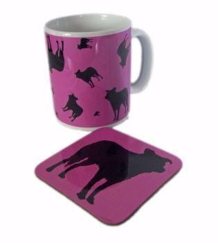Border Collie Dog Silhouette Ceramic Mug And Square Gloss Coaster Set