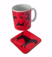 Boxer Dog Silhouette Ceramic Mug And Square Gloss Set