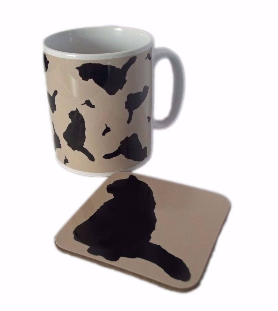 Cat Silhouette Kitty Ceramic Mug And Square Gloss Coaster Set