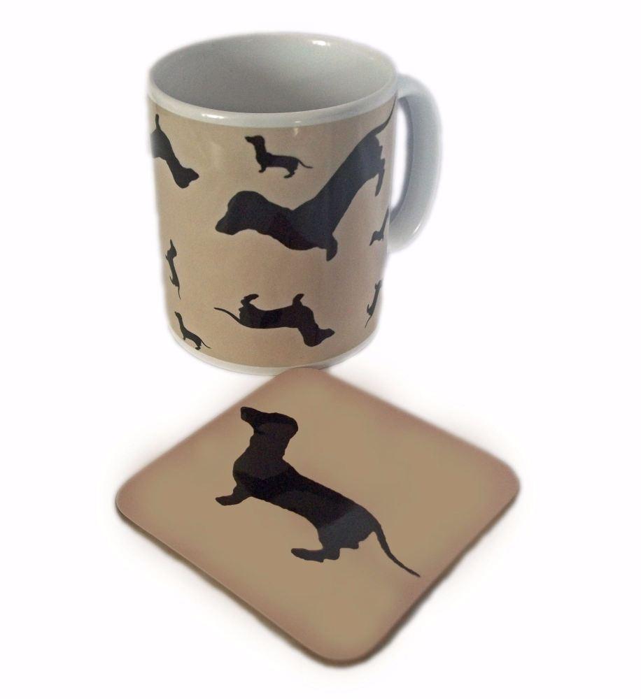 Dachshund Dahks-hound Sausage Dog Silhouette Ceramic Mug And Square Gloss C