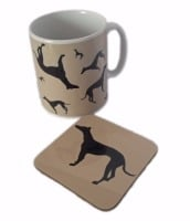 Greyhound Whippet Dog Sighthound Silhouette Ceramic Mug And Coaster Set