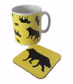 Husky Silhouette Sled Dog Ceramic Mug And Square Gloss Coaster Set