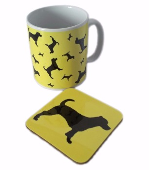 Jack Russell Terrier Dog Silhouette JR Ceramic Mug And Square Gloss Coaster Set