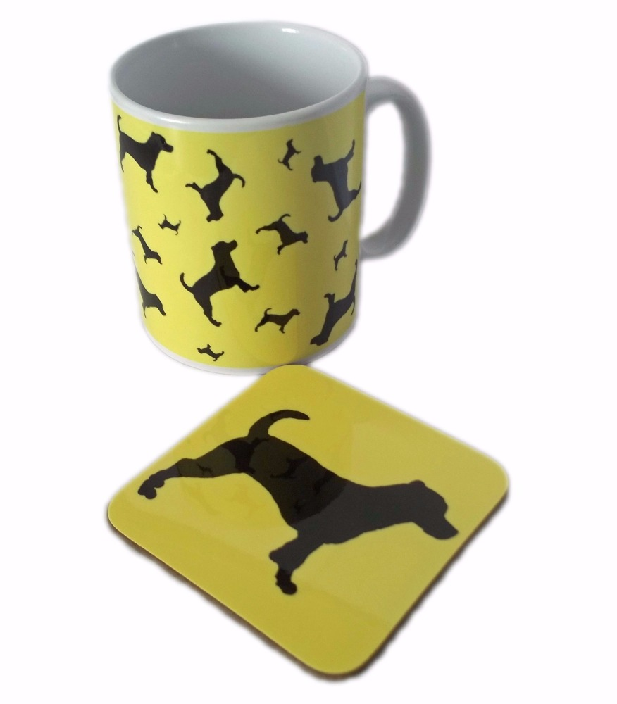Jack Russell Terrier Dog Silhouette JR Ceramic Mug And Square Gloss Coaster