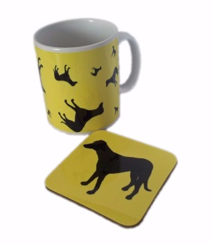Lurcher Crossbreed Dog Silhouette Ceramic Mug And Square Gloss Coaster Set