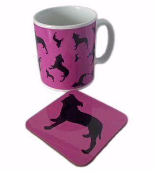 Staffordshire Bull Terrier Dog Silhouette Staffy Staffie Ceramic Mug And Square Gloss Coaster Set