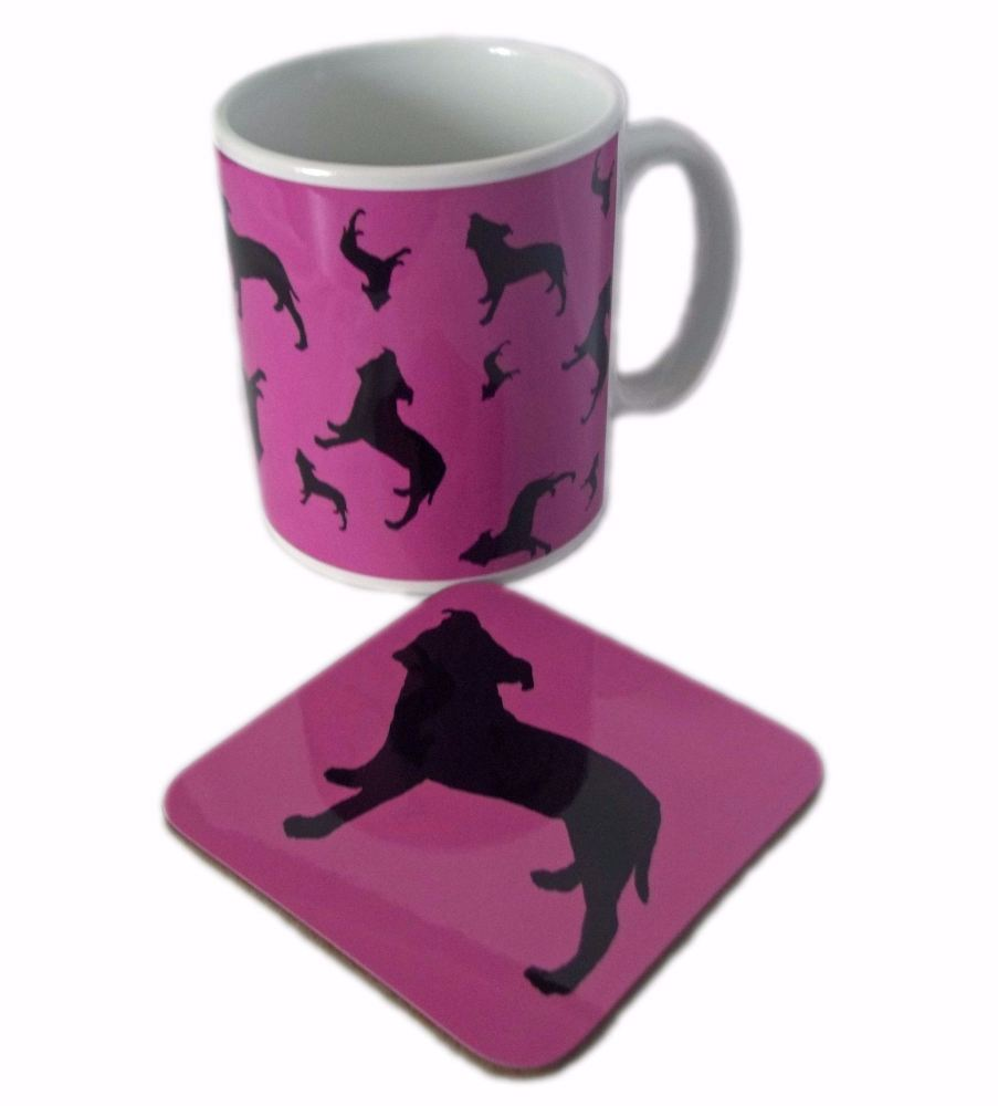 Staffordshire Bull Terrier Dog Silhouette Staffy Staffie Ceramic Mug And Sq