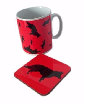 German Shepherd GSD Alsatian Dog Silhouette Alsation Ceramic Mug And Coaster Set
