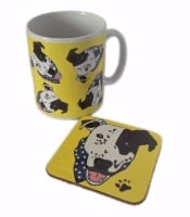 Arthur Crossbreed Rescue Mongrel Dog Ceramic Mug And Square Gloss Coaster Set