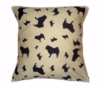 Pug Silhouette Breed Specific Dog Cushion Beige