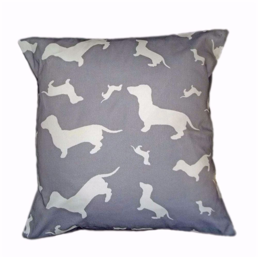 Dachshund Dahks-hound Silhouette Breed Specific Dog Cushion Grey