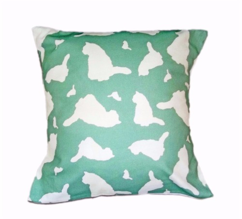 Cat Kitten Silhouette Cushion Mint Green