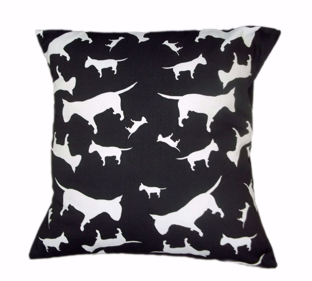 English Bull Terrier Dog Silhouette EBT Cushion Black