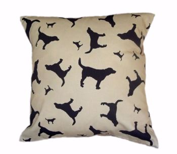 Beagle Hound Dog Silhouette Cushion Beige