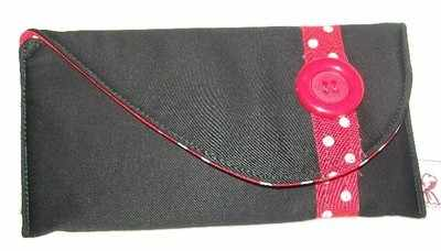 Curved Polka Dot Strip Purse