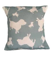 Basset Hound Dog Silhouette Cushion Sage Green