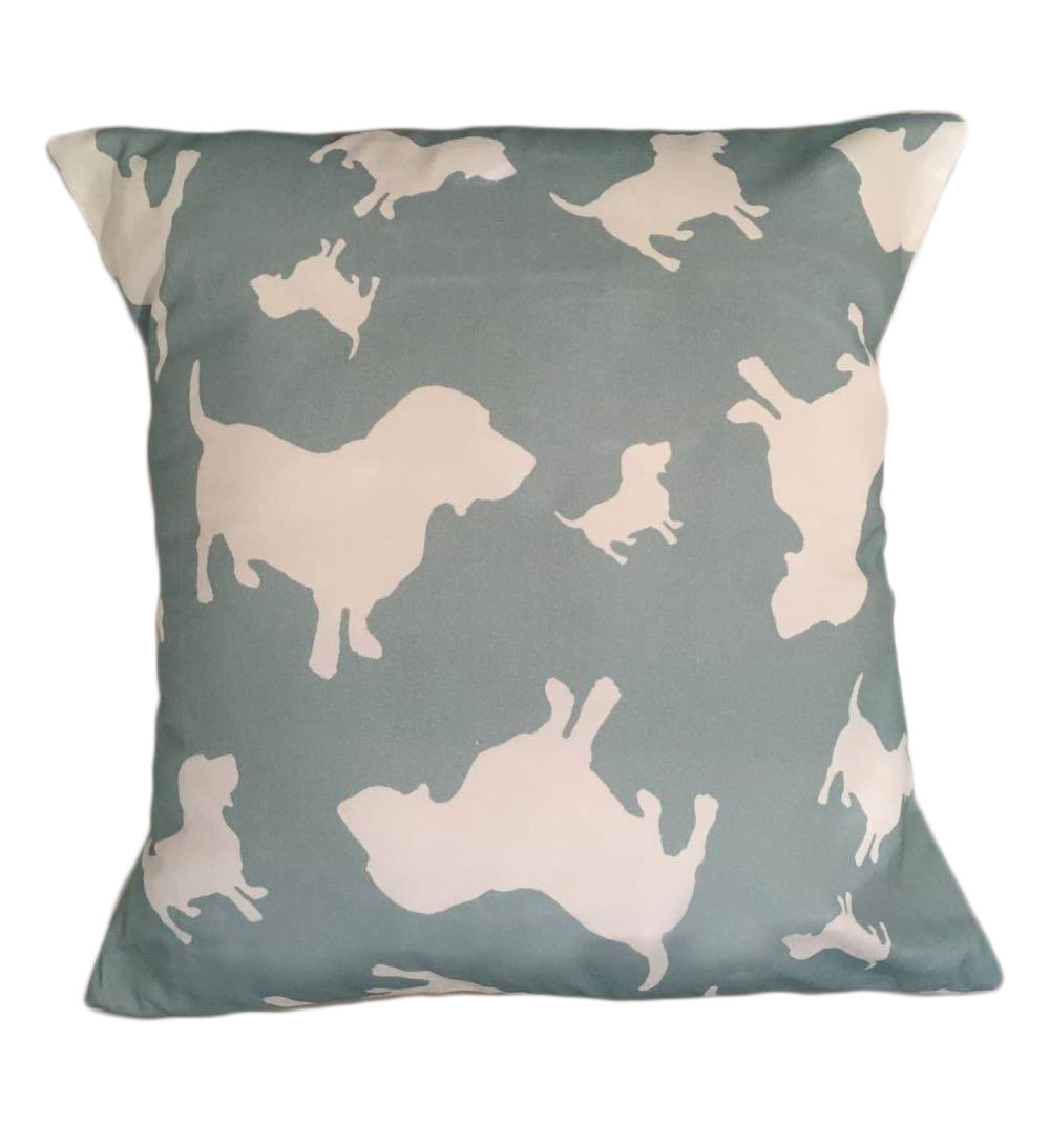 Basset Hound Dog Silhouette Cushion Sage Green