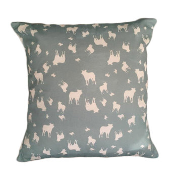 Border Collie Dog Silhouette Cushion Sage Green