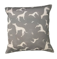 Greyhound Whippet Sighthound Silhouette Dog Cushion Grey