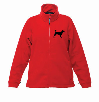 Ladies animal silhouette breed specific embroidered dog cat fleece jacket