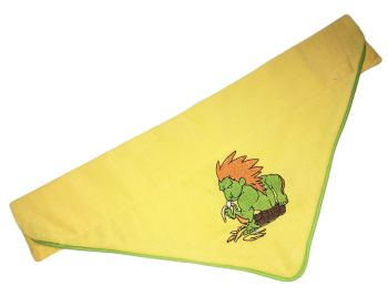 Official Street Fighter Embroidered Piped Edge Chibi Pocketfighter Blanka Arcade Dog And Cat Bandana Yellow