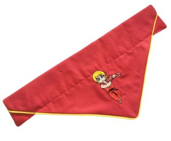 Official Street Fighter Embroidered Piped Edge Chibi Pocketfighter Ken Masters Arcade Dog And Cat Bandana Red