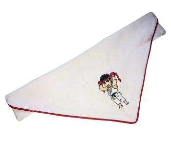 Official Street Fighter Embroidered Piped Edge Chibi Pocketfighter Ryu Hadoken Arcade Dog And Cat Bandana White And Red