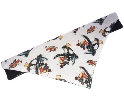 Official Street Fighter Classic Ryu Hadoken Arcade Dog And Cat Bandana Whit