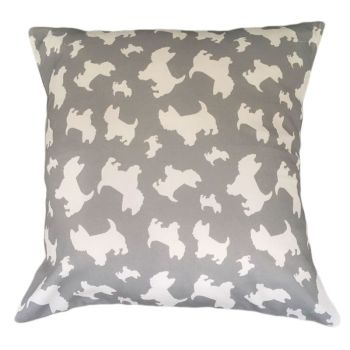West Highland Terrier Westie Dog Cushion Breed Silhouette Grey