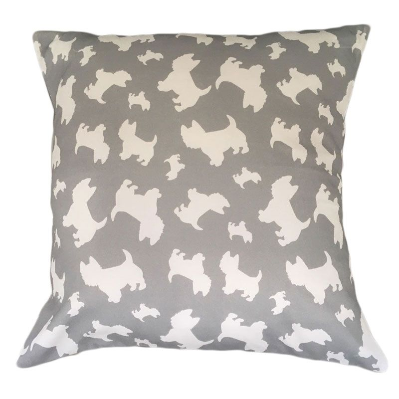 West Highland Terrier Westie Dog Cushion Breed Silhouette Grey