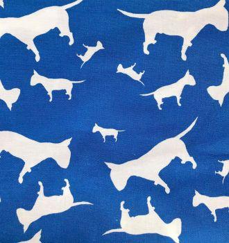 Blue English Bull Terrier Dog Silhouette ZukieStyle Designer Fabric