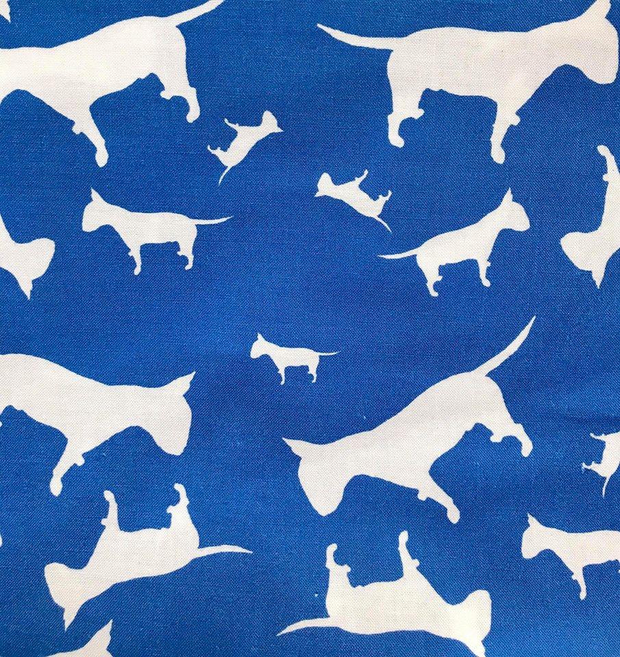 Blue Staffordshire Bull Terrier Dog Silhouette ZukieStyle Designer Fabric